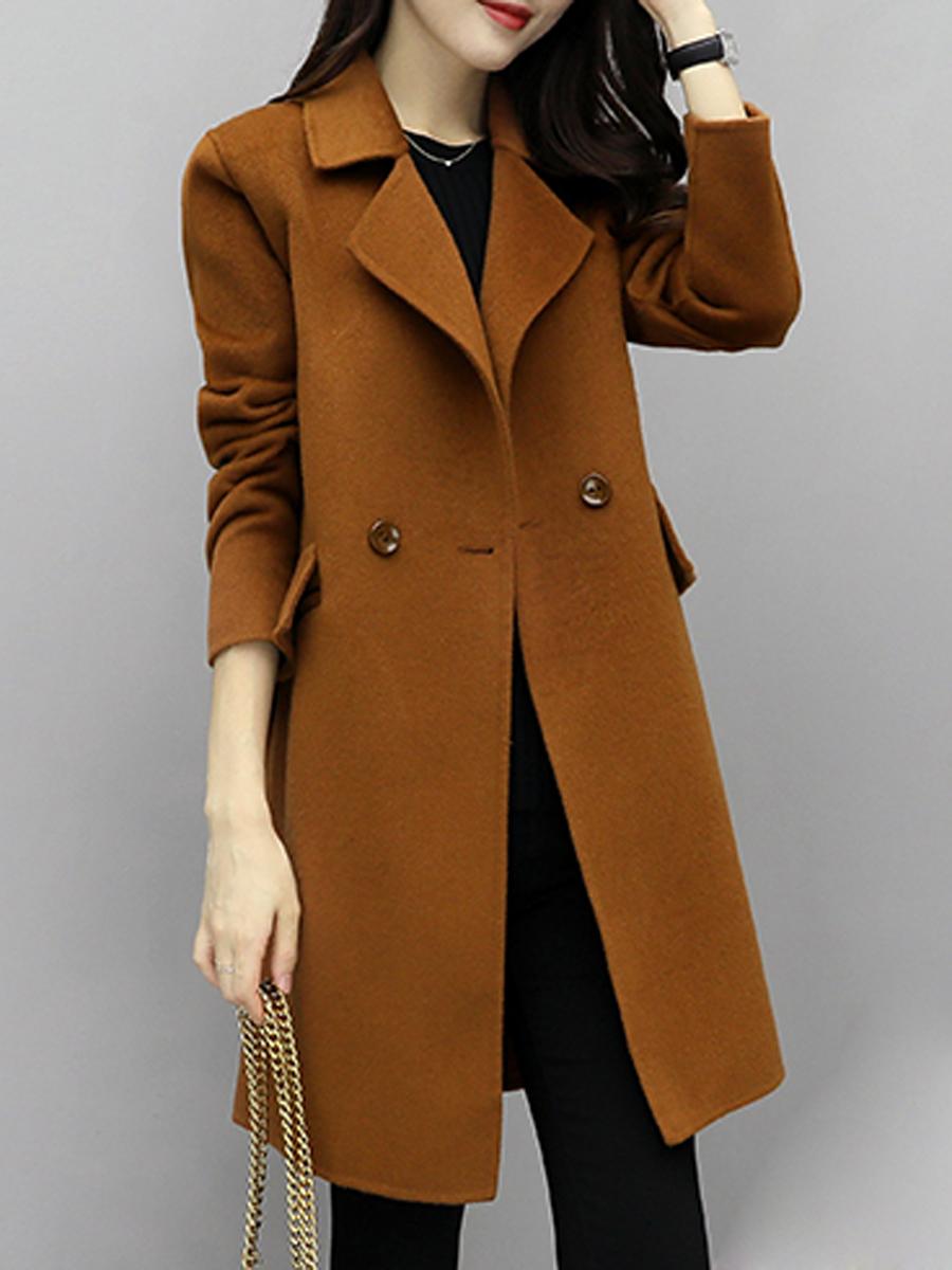 elegant flap pocket plain office winter Lapel  Flap Pocket  Plain Woolen Coat