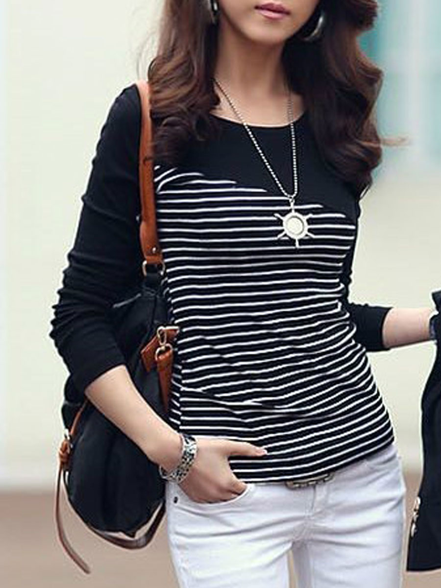 elegant fashion patchwork striped basic daily autumn spring t-shirts Autumn Spring  Polyester  Women  Round Neck  Patchwork  Striped Long Sleeve T-Shirts