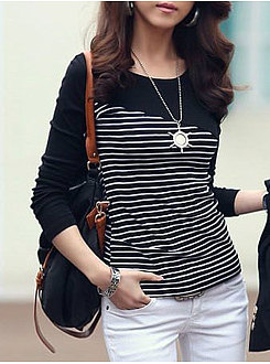 Autumn Spring  Polyester  Women  Round Neck  Patchwork  Striped Long Sleeve T-Shirts