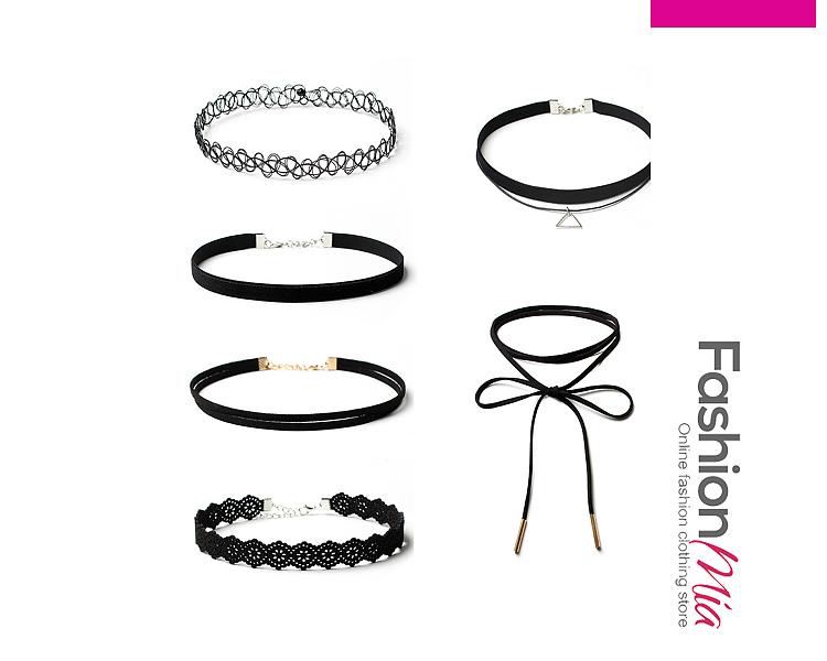 Six Pieces Lace Choker Necklaces Set