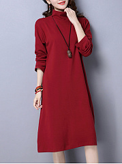 Cowl Neck  Plain  Polyester Shift Dress