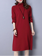 Cowl-Neck-Plain-Polyester-Shift-Dress