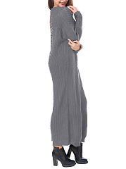 Round Neck Distressed Hollow Out Plain Knitted Maxi Dress