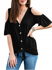 Polyester  Open Shoulder  Decorative Button  Plain  Short Sleeve Short Sleeve T-Shirts