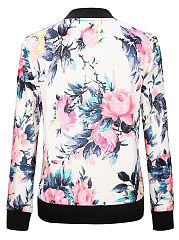 Band Collar Bomber Jacket In Floral Printed