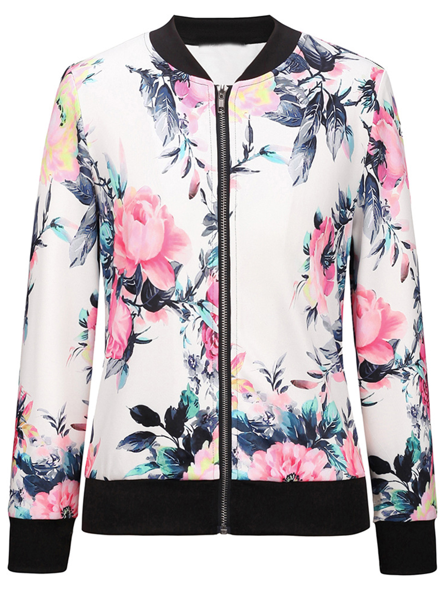 floral printed casual autumn Band Collar Bomber Jacket In Floral Printed