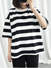 Summer-Cotton-Women-Round-Neck-Striped-Short-Sleeve-T-Shirts
