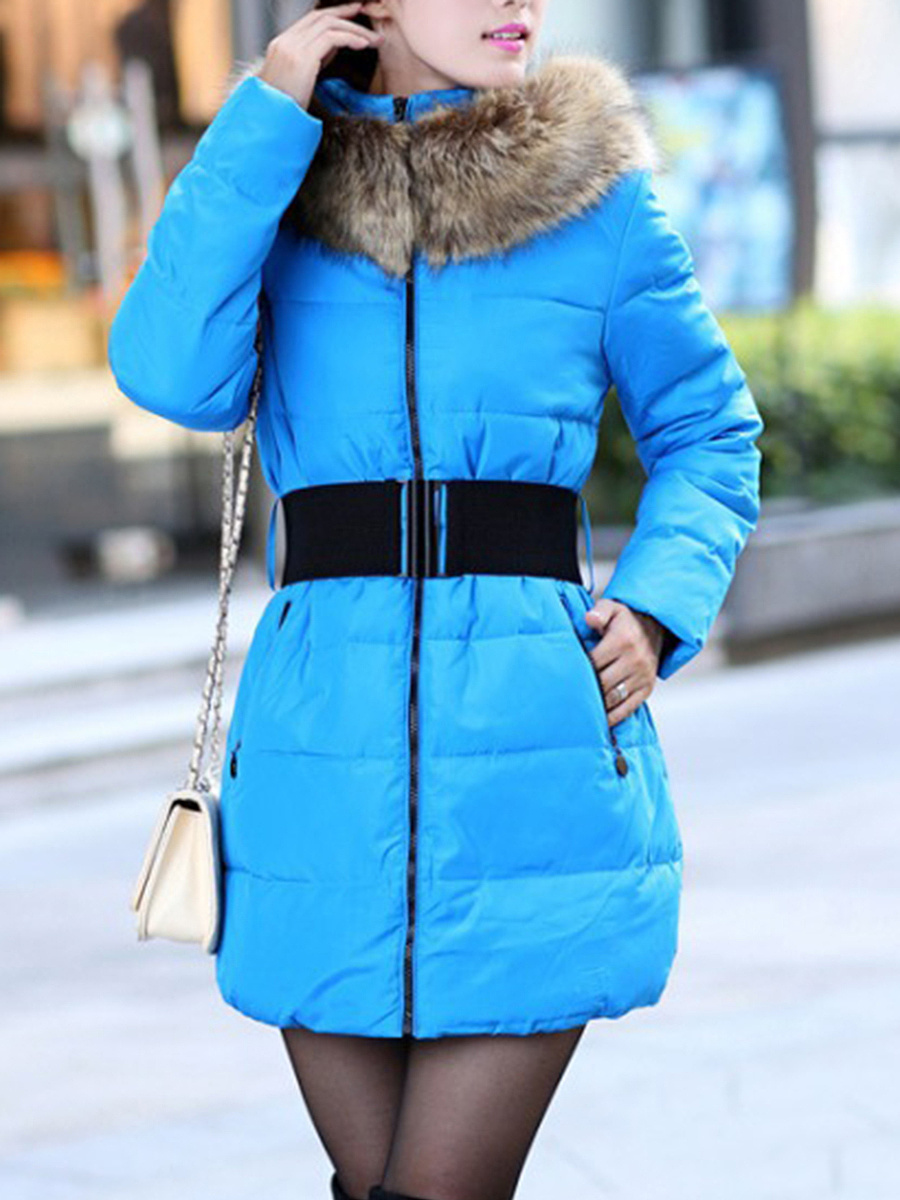 Hooded Pocket Belt Quilted Padded Coat