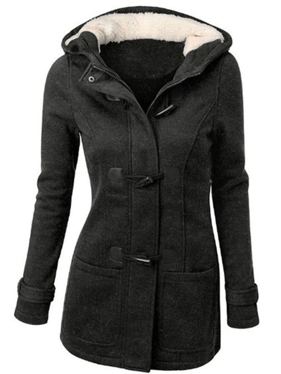 patch pocket plain casual vacation winter Hooded  Patch Pocket  Plain Woolen Coat