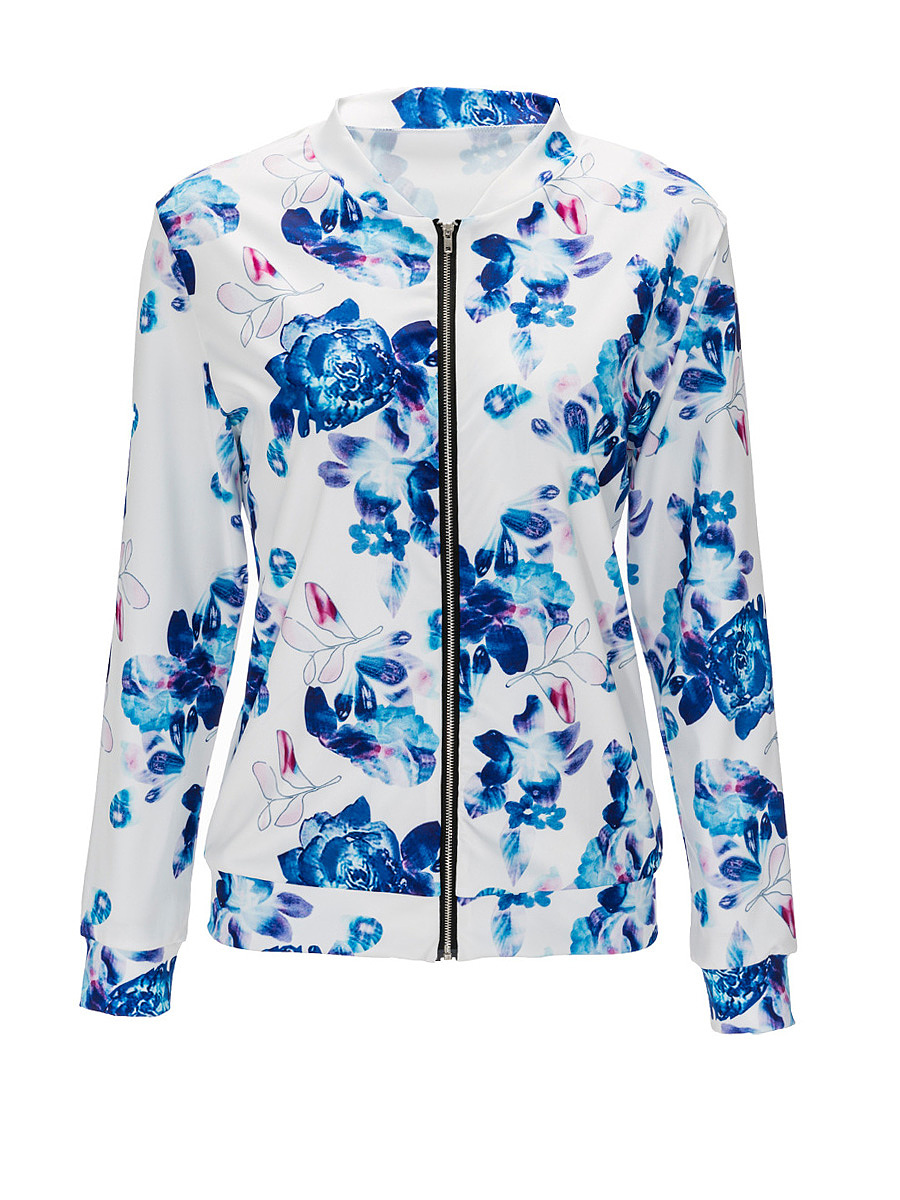 Floral Printed Band Collar Bomber Jacket