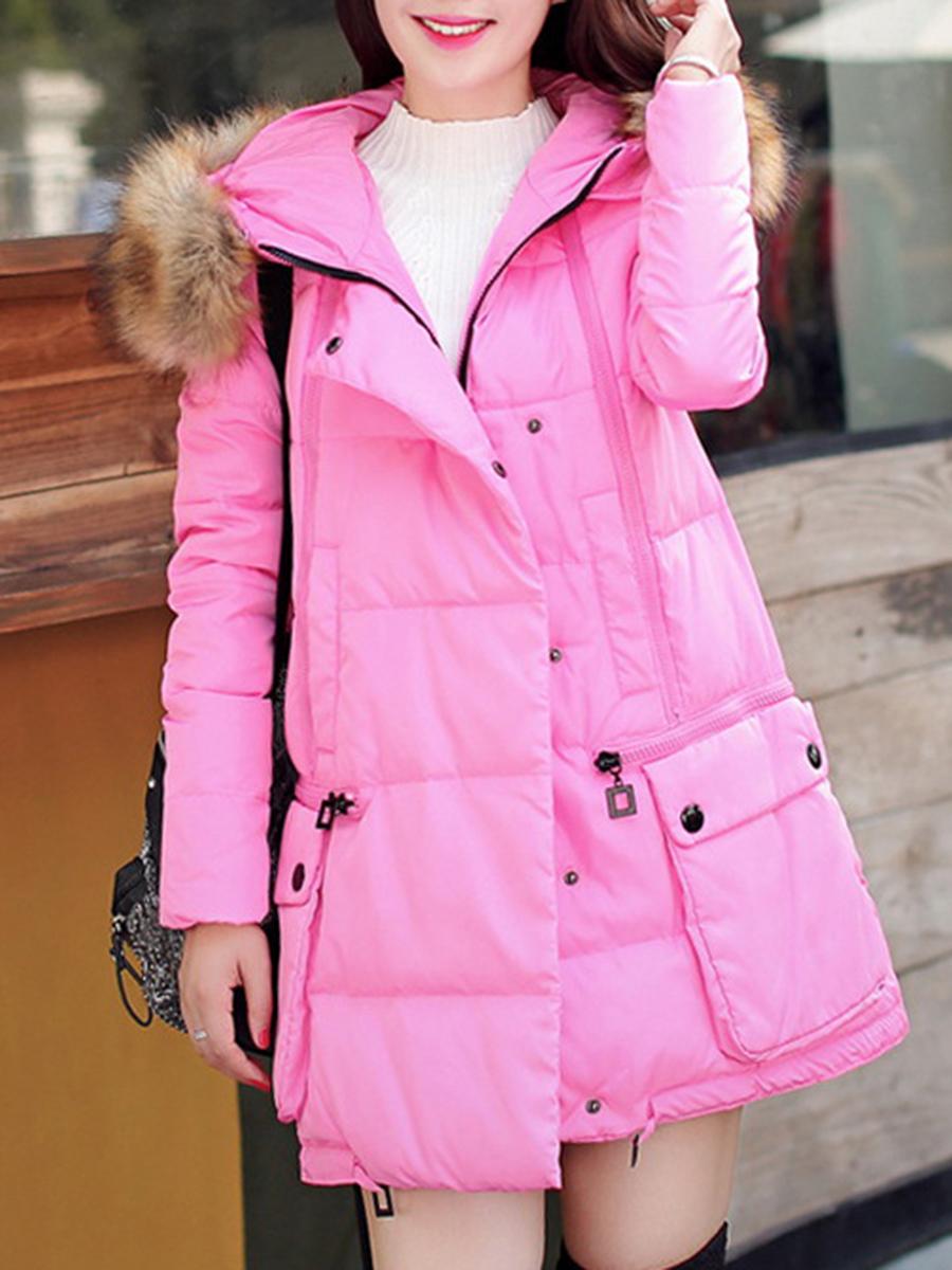 flap pocket zips plain casual vacation winter Hooded Flap Pocket Zips Plain Padded Coat