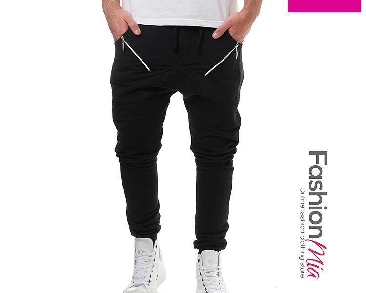 Drawstring Zips  Plain  Slim-Leg  Mid-Rise Mens Casual Pants