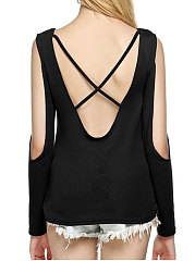 Summer  Polyester  Women  Open Shoulder  Backless  Plain Long Sleeve T-Shirts