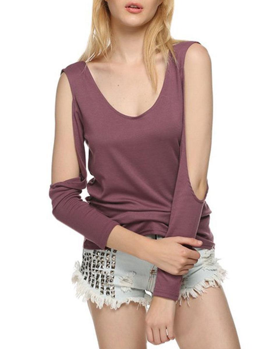 elegant fashion backless plain basic date summer t-shirts Summer  Polyester  Women  Open Shoulder  Backless  Plain Long Sleeve T-Shirts
