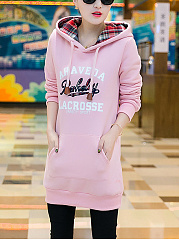 Kangaroo Pocket Embroidery Letters Fleece Lined Hoodie