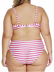 Lovely Striped Spaghetti Strap Plus Size Bikini