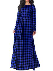 Round-Neck-Plaid-Belt-Maxi-Dress
