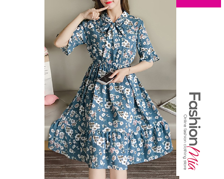 thickness:regular, brand_name:fashionmia, down_content:100%, style:fashion, material:polyester, collar&neckline:tie collar, sleeve:half sleeve, pattern_type:printed, length:midi, how_to_wash:cold gentle machine wash, supplementary_matters:all dimensions are measured manually with a deviation of 2 to 4cm., occasion:date, season:autumn,spring,summer, dress_silhouette:flared, package_included:dress*1, lengthshouldersleeve lengthbust