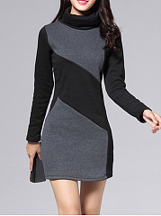 Cowl-Neck-Plain-Blend-Bodycon-Dress