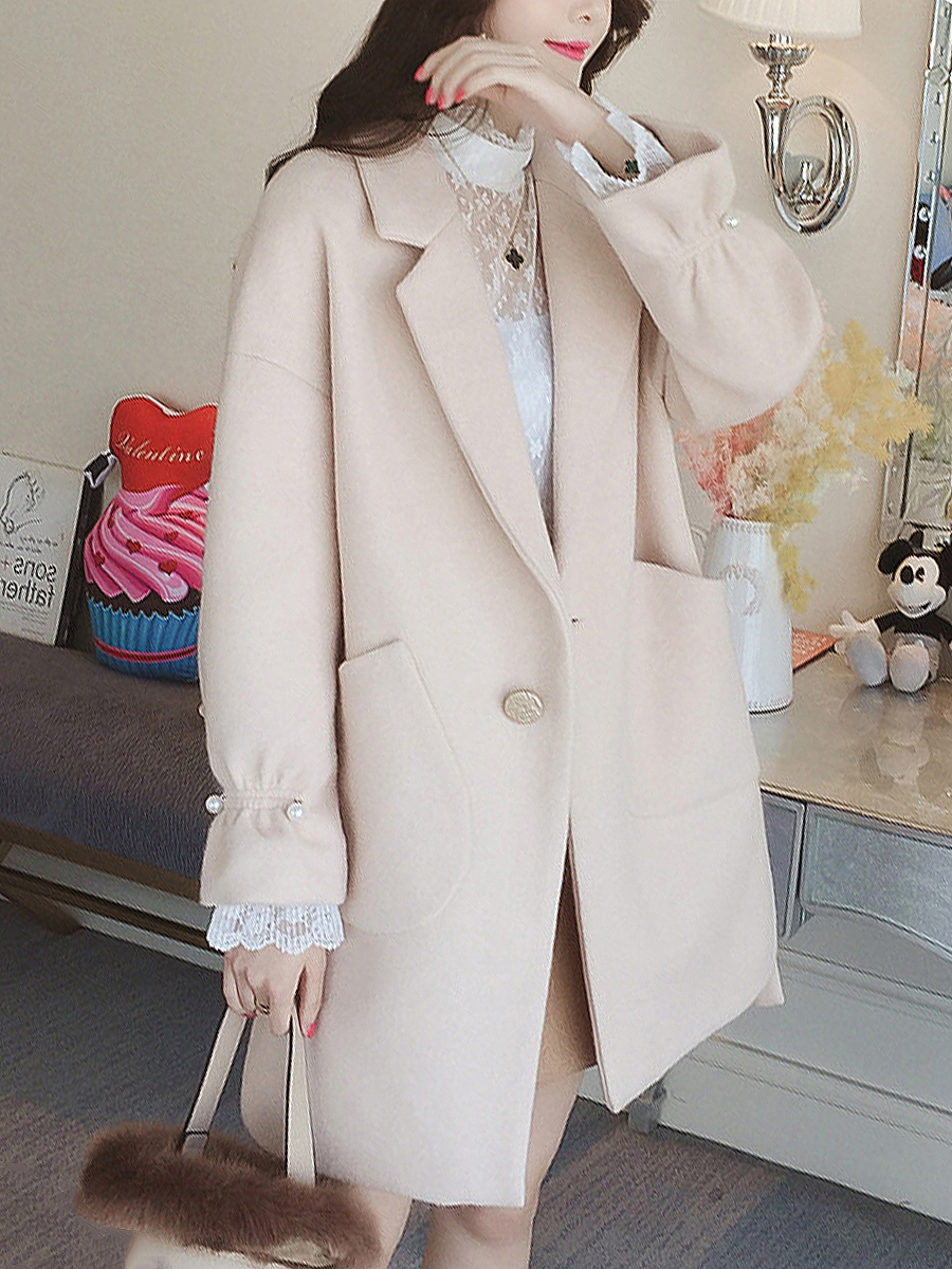 Lapel Patch Pocket Single Button Plain Woolen Coat