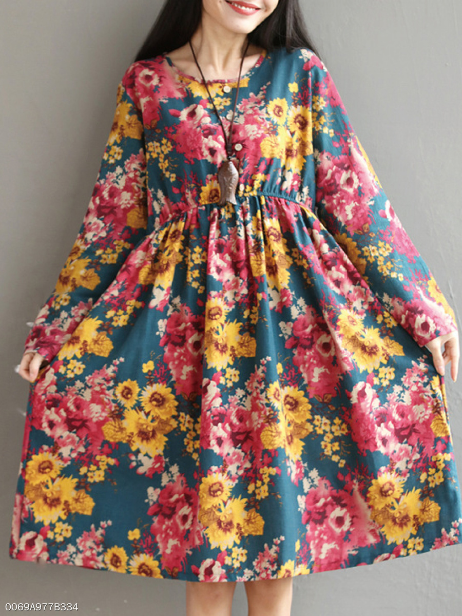 Round Neck  Elastic Waist  Floral Skater Dress