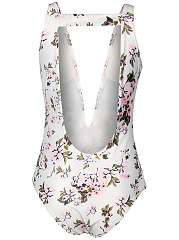 Back Hole Floral Printed Deep V-Neck One Piece
