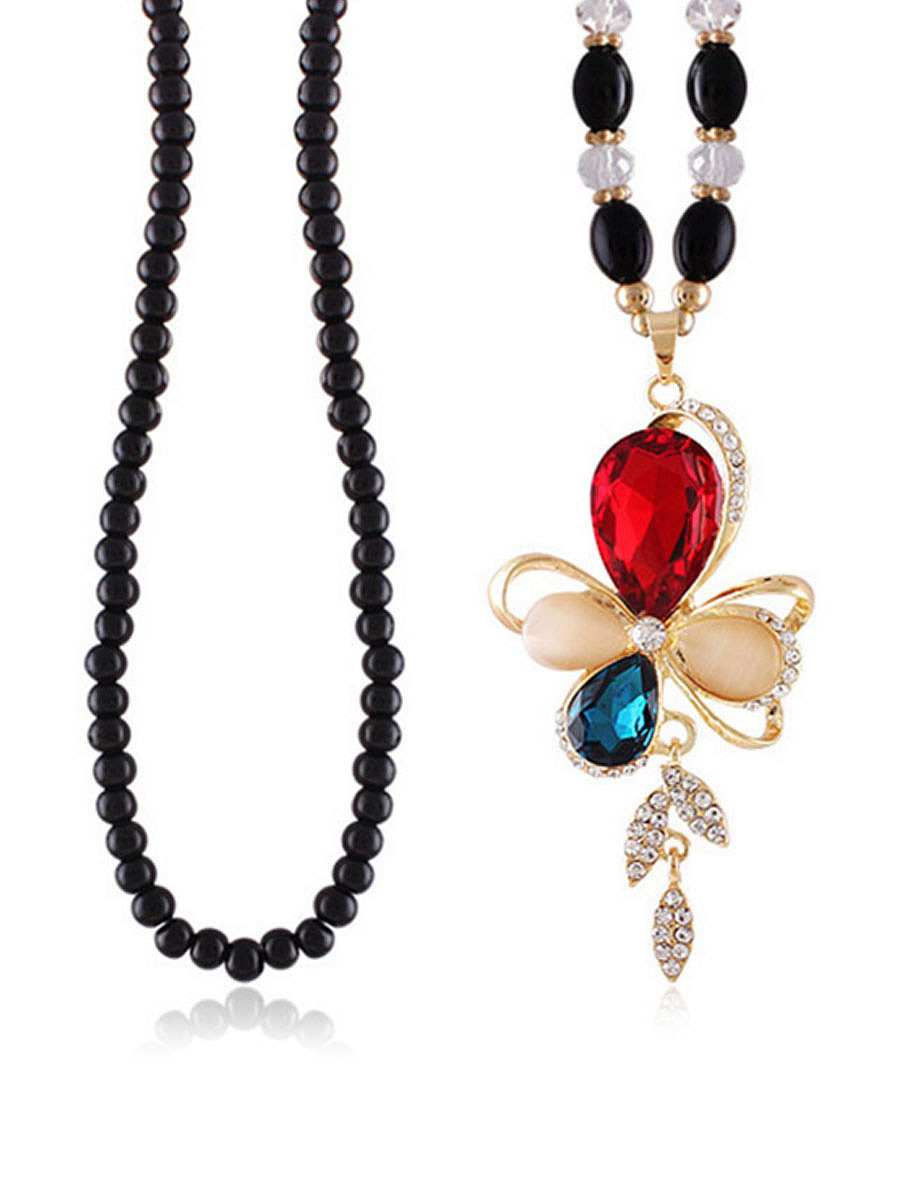 Colorful Butterfly Crystal Bead Necklace