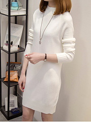 Band-Collar-Plain-Cotton-Shift-Dress