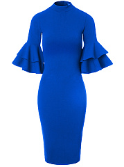 Vintage-Bell-Sleeve-Solid-Band-Collar-Bodycon-Dress