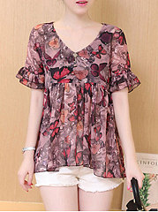 Summer  Polyester  Women  V-Neck  Animal Printed Floral Butterfly Printed  Bell Sleeve  Short Sleeve Blouses