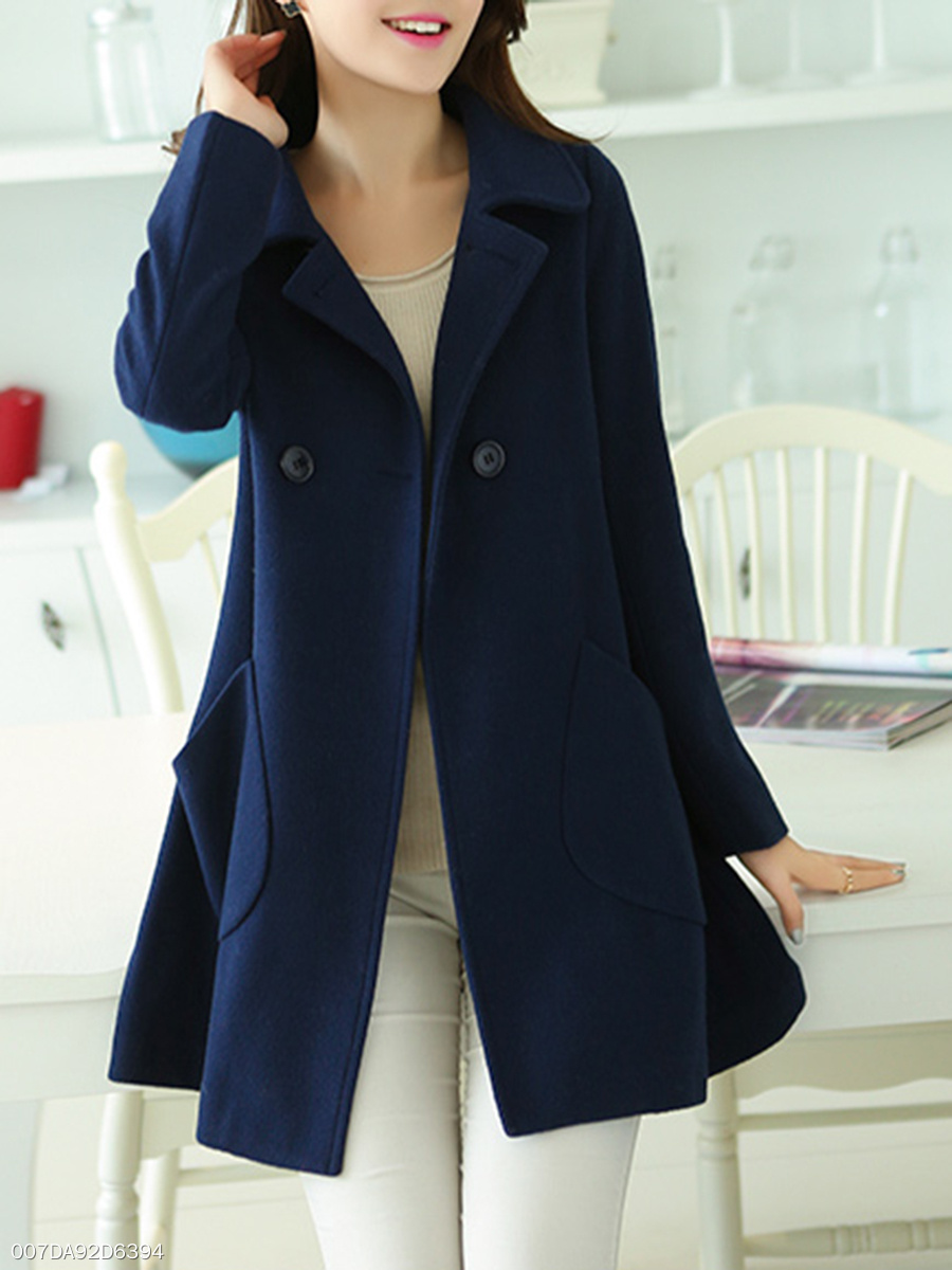 Lapel  Patch Pocket  Plain  Long Sleeve Coats
