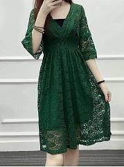 V-Neck-Hollow-Out-Plain-Tube-Lace-Skater-Dress