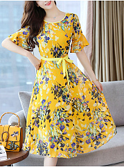 Round Neck  Floral Printed No Belt Skater Dress