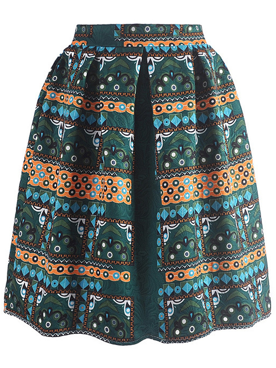 Inverted Pleat  Printed Elastic Waist Flared Midi Skirt