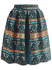 Inverted-Pleat-Printed-Elastic-Waist-Flared-Midi-Skirt