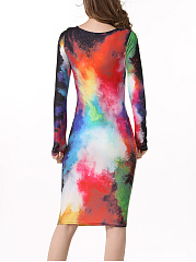 Stunning Round Neck Multicolor Printed Bodycon Dress
