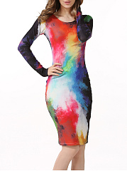 Stunning-Round-Neck-Multicolor-Printed-Bodycon-Dress