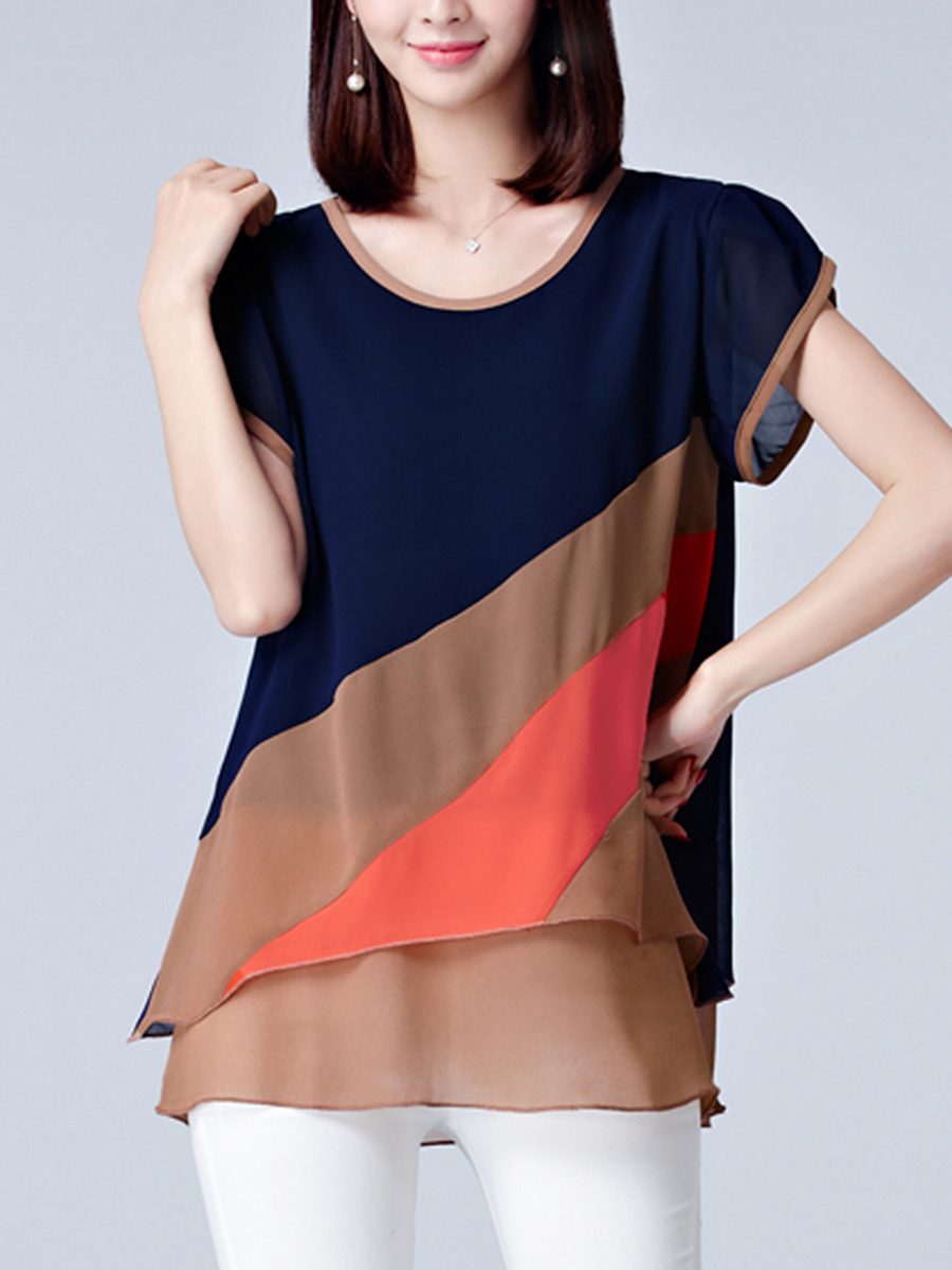 Round Neck Color Block Petal Sleeve Blouse