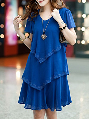 Round Neck  Cutout Diamante  Plain  Chiffon Shift Dress