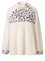 High Neck  Patchwork  Leopard  Long Sleeve Plush Sweatshirts