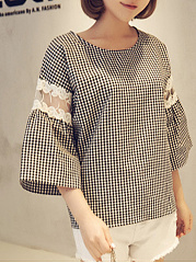 Autumn Spring Summer  Cotton  Women  Round Neck  Decorative Lace  Houndstooth Blouses