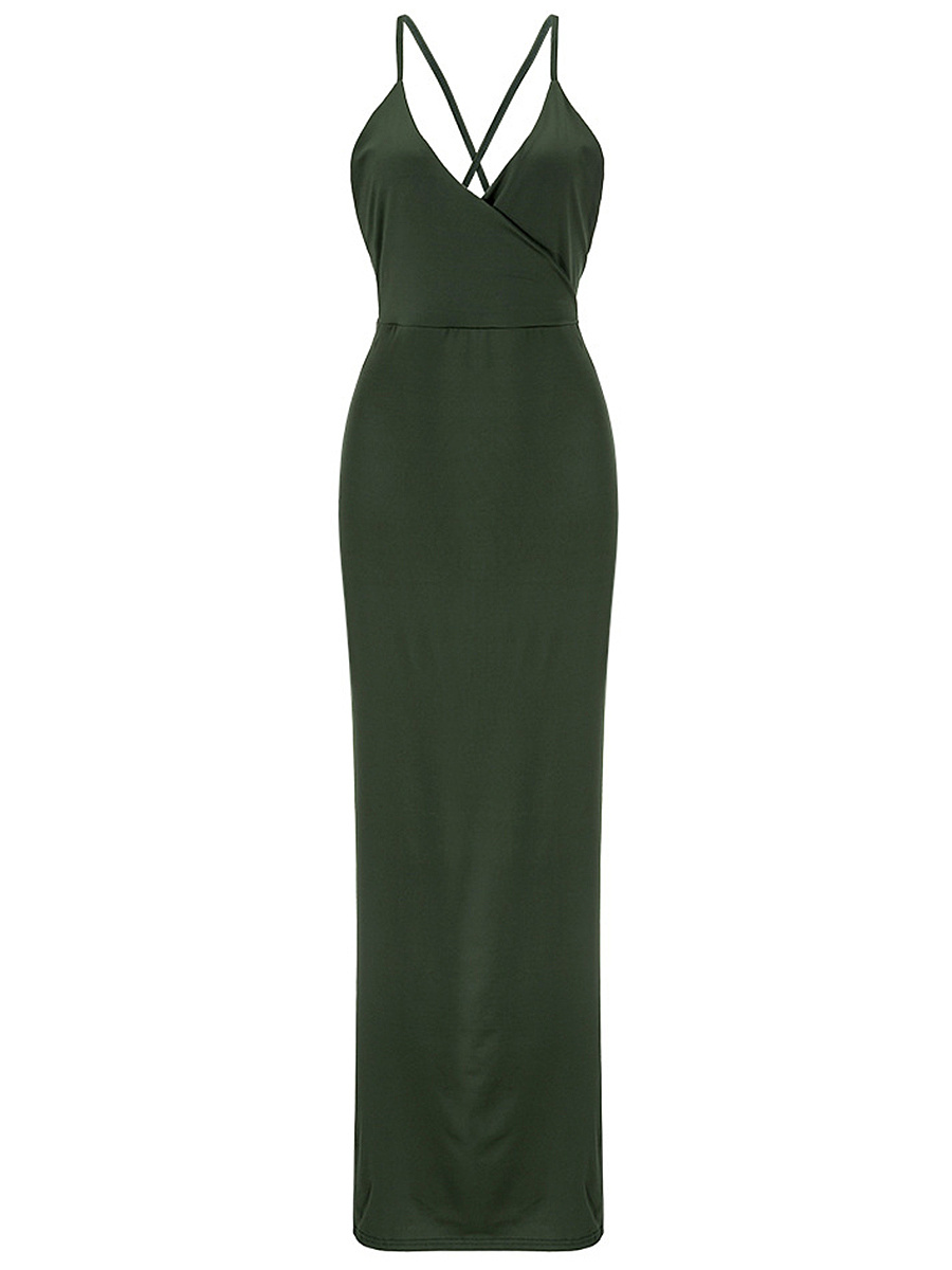 Sexy High Slit Spaghetti Strap Plain X-Back Maxi Dress