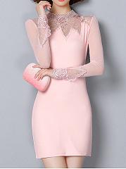 Band-Collar-See-Through-Plain-Mini-Bodycon-Dresses