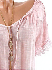 Spring Summer  Cotton Polyester  Women  Open Shoulder  Decorative Lace  Plain  Short Sleeve Blouses
