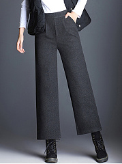 Plain-Elastic-Waist-Pocket-Woolen-Wide-Leg-Pants