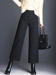Plain Elastic Waist Pocket Woolen Wide-Leg Pants