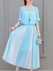 Round Neck  Beading Patchwork  Color Block Maxi Dress