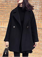 Lapel-Plain-Pocket-Long-Sleeve-Woolen-Coat