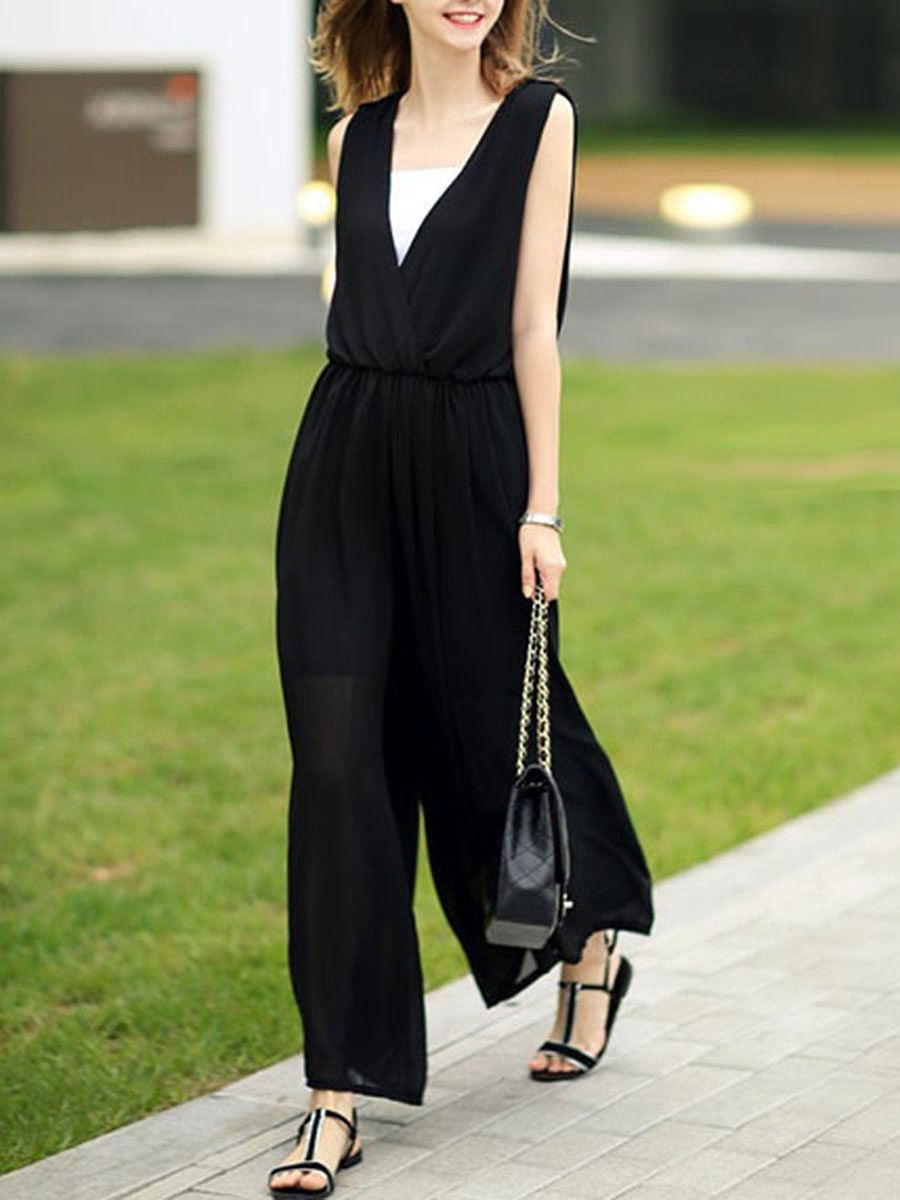 Deep V-Neck Elastic Waist Hollow Out Plain Chiffon Wide-Leg Jumpsuit