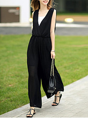 Deep-V-Neck-Elastic-Waist-Hollow-Out-Plain-Chiffon-Wide-Leg-Jumpsuit